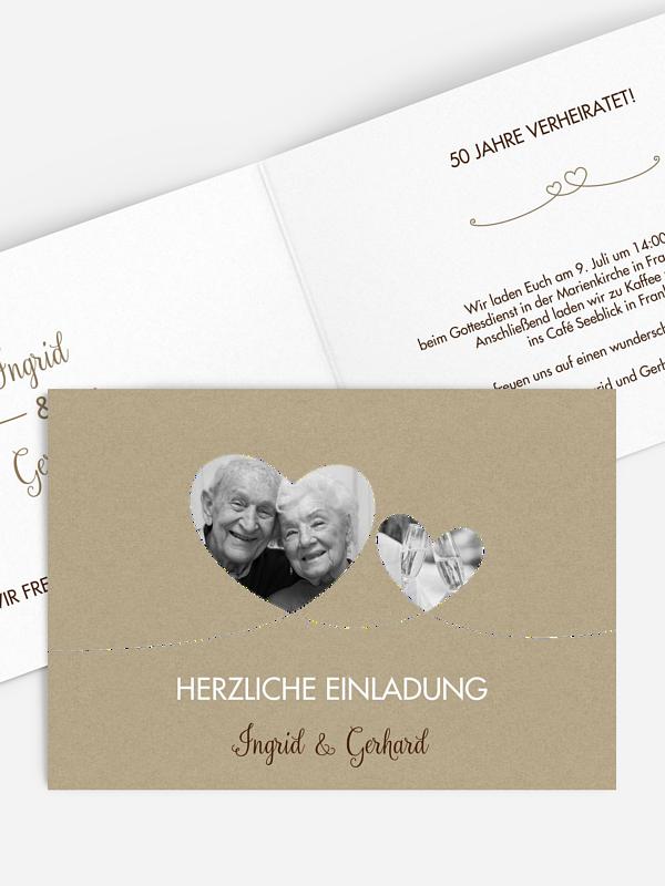 Einladung zur Goldenen Hochzeit Liebesbande