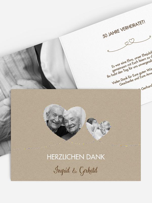 Danksagung zur Goldenen Hochzeit Liebesbande