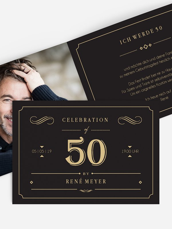 Einladung 50. Geburtstag Gatsby