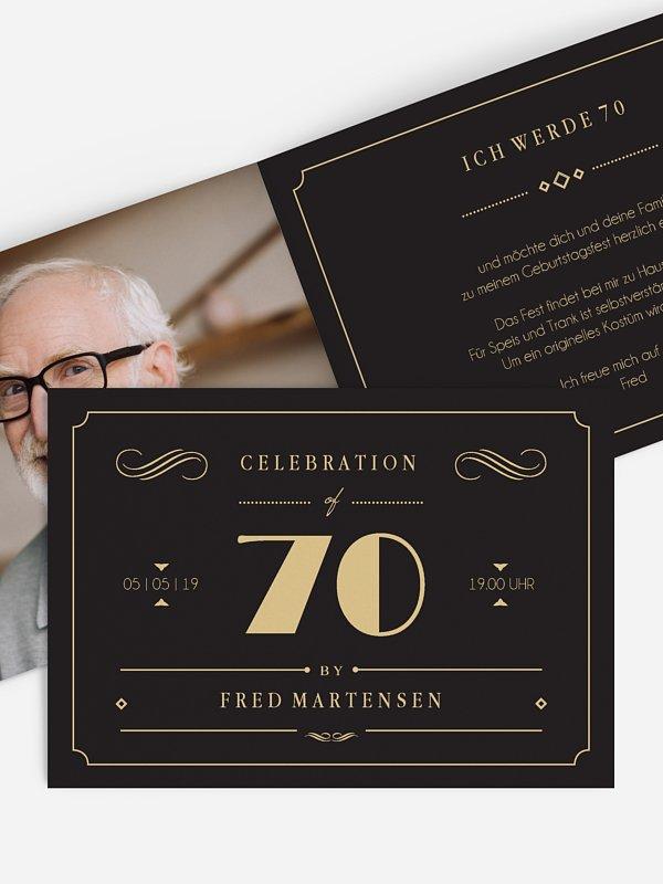 Einladung 70. Geburtstag Gatsby