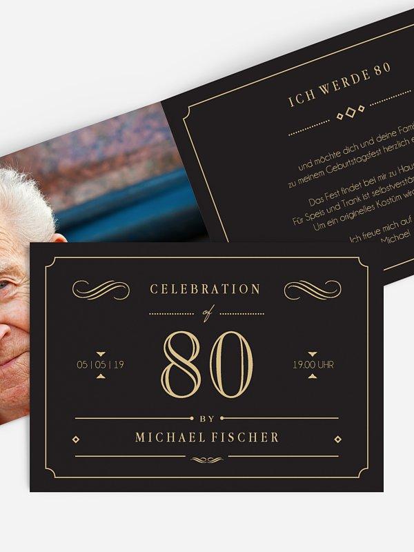 """einladungskarten 80. geburtstag """"gatsby"""""""