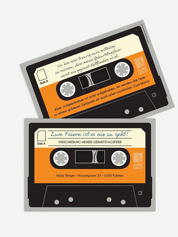 Geburtstagseinladung Musikkassette