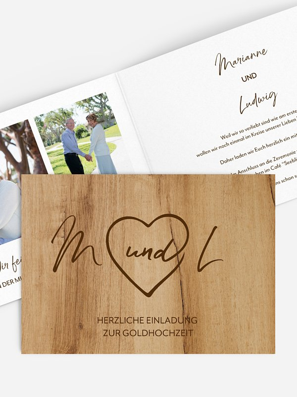 Einladung zur Goldenen Hochzeit Rustic Heart