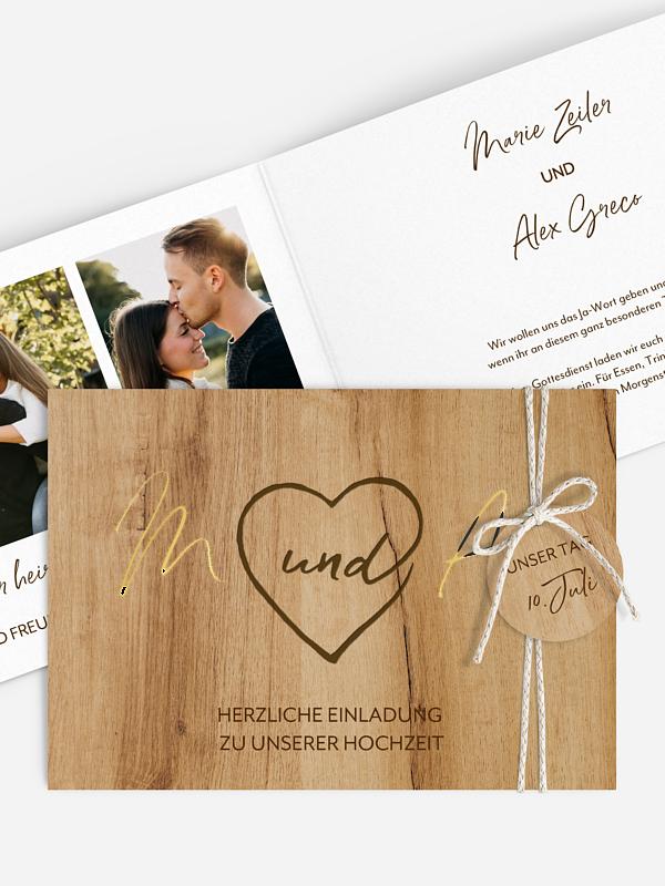 Hochzeitseinladung Rustic Heart