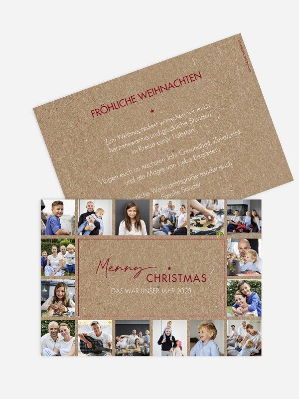 Weihnachtskarte What a Year Kraftpapier