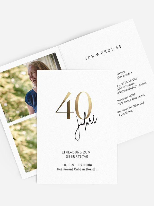 """einladungskarten 40. geburtstag """"prachtvolle jahre"""""""