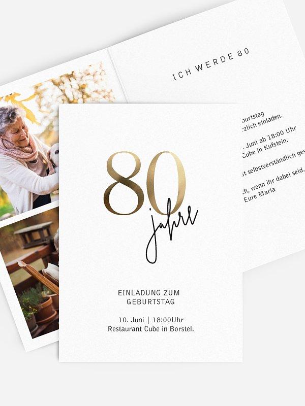 """einladungskarten 80. geburtstag """"prachtvolle jahre"""""""