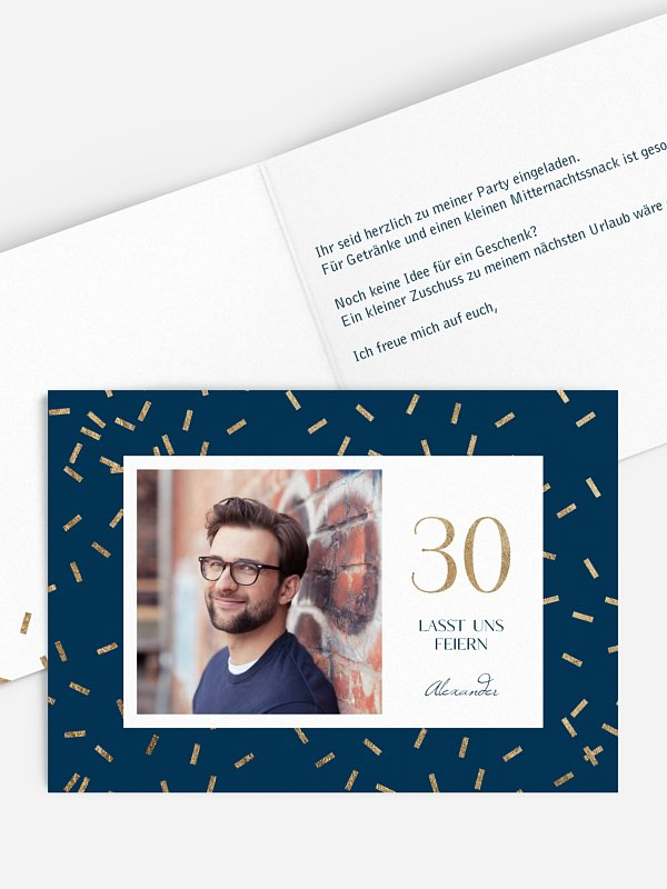 Einladung 30. Geburtstag Sparkling Pattern