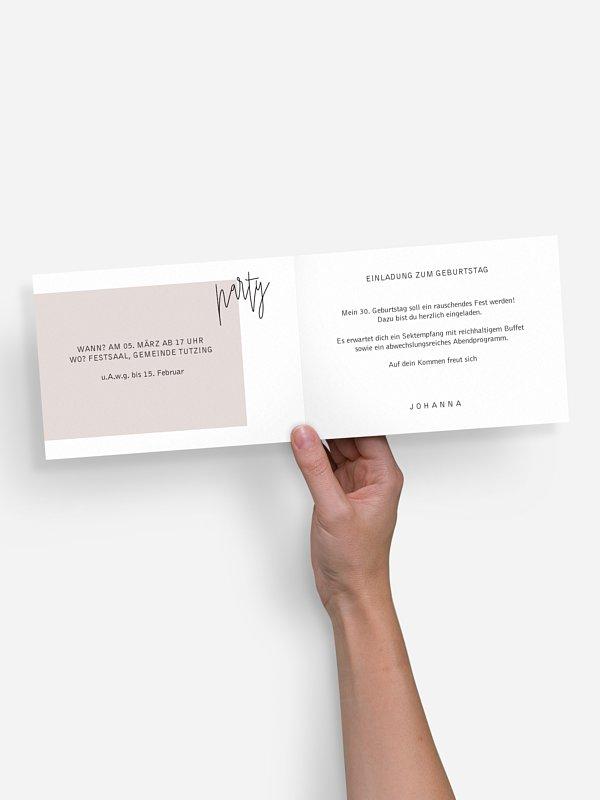 """einladungskarten 30. geburtstag """"glänzende jahre"""""""
