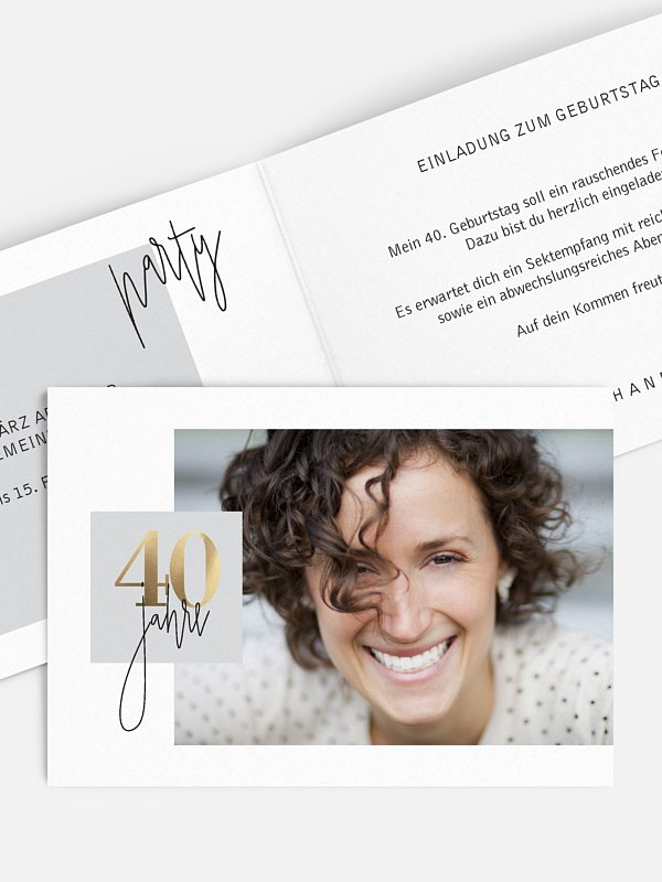 Einladung 40. Geburtstag Glänzende Jahre