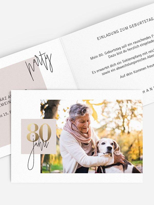 Einladung 80. Geburtstag Glänzende Jahre