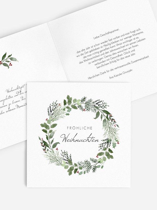 Geschäftliche Weihnachtskarte Weihnachtskranz