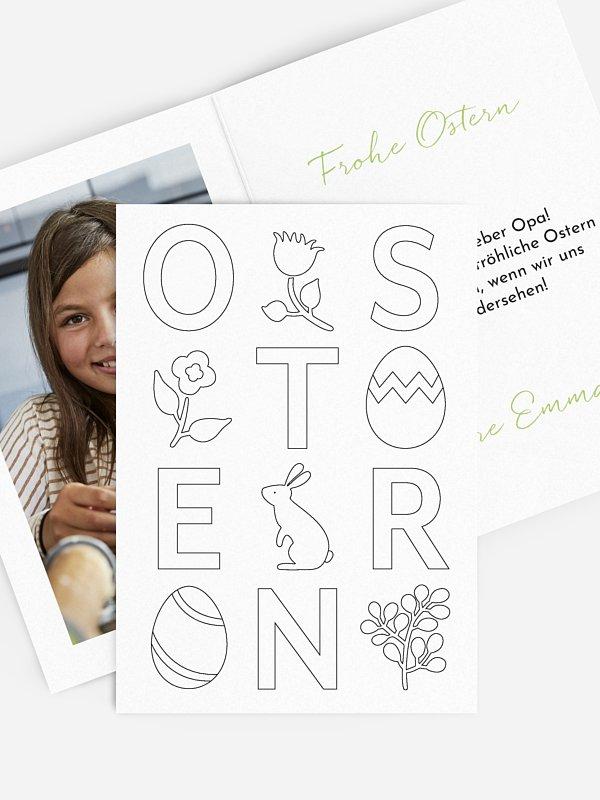 Osterkarte Buchstabenspiel zum Ausmalen