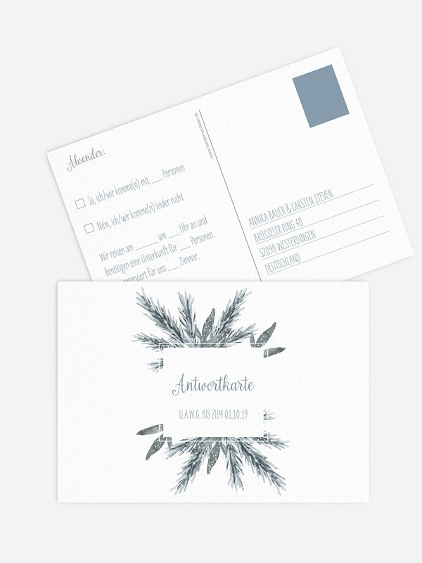Antwortkarte Hochzeit Painted Pine