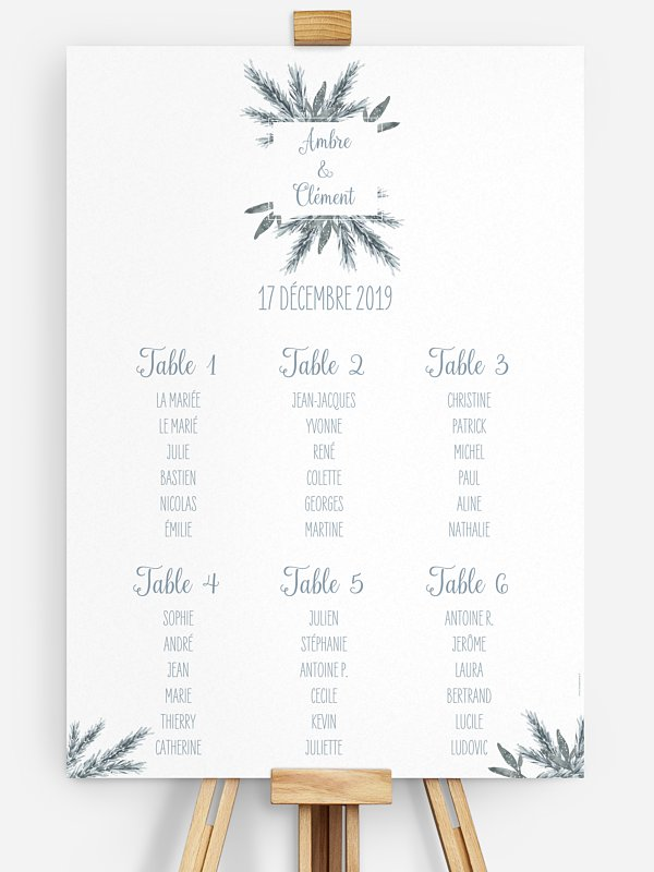 Poster plan de table mariage Pin en aquarelle