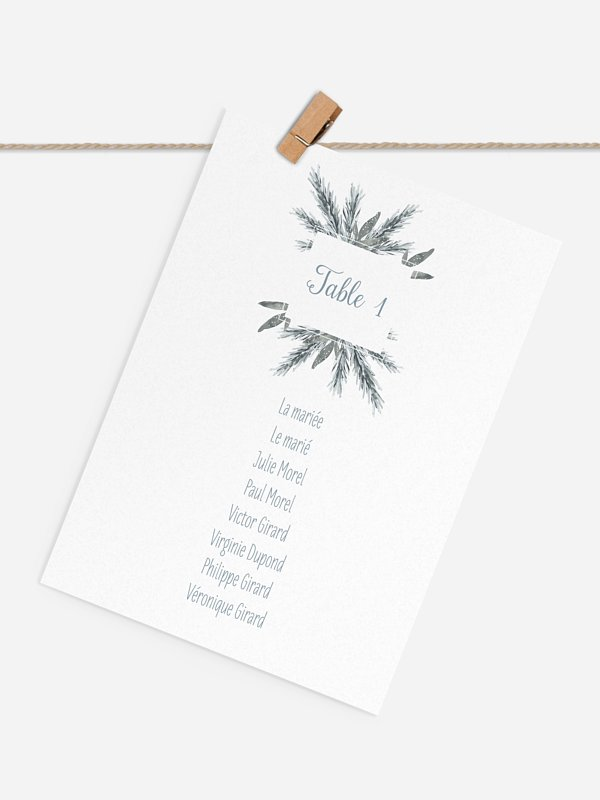 Cartons plan de table mariage Pin en aquarelle