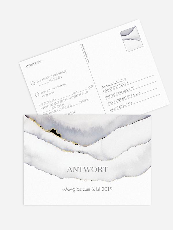 Antwortkarte Hochzeit Ombre Premium