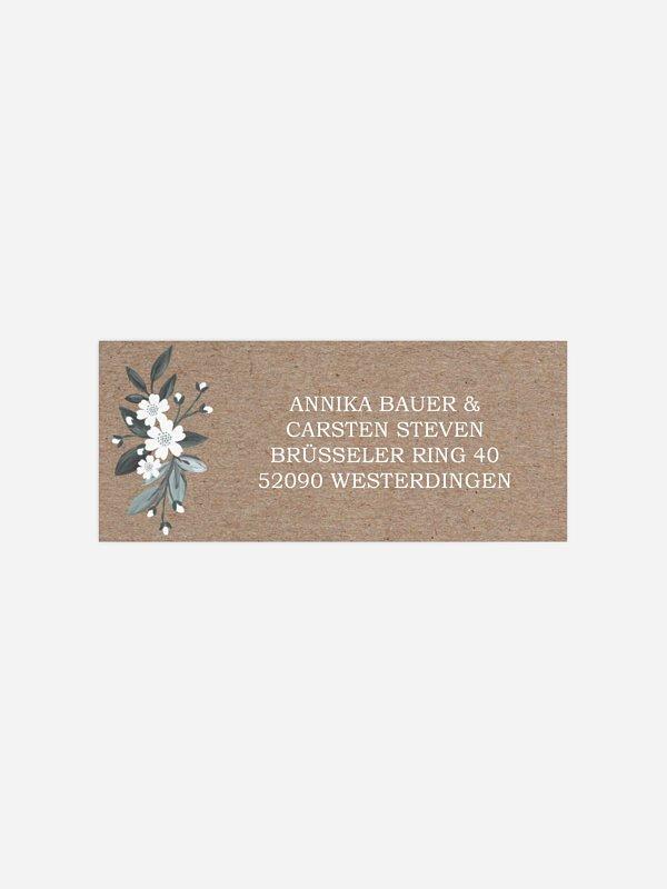 Absenderaufkleber Hochzeit Rustic Flowers