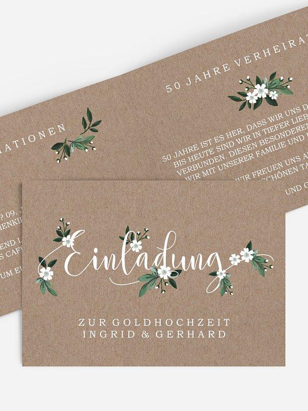 Einladung zur Goldenen Hochzeit Rustic Flowers