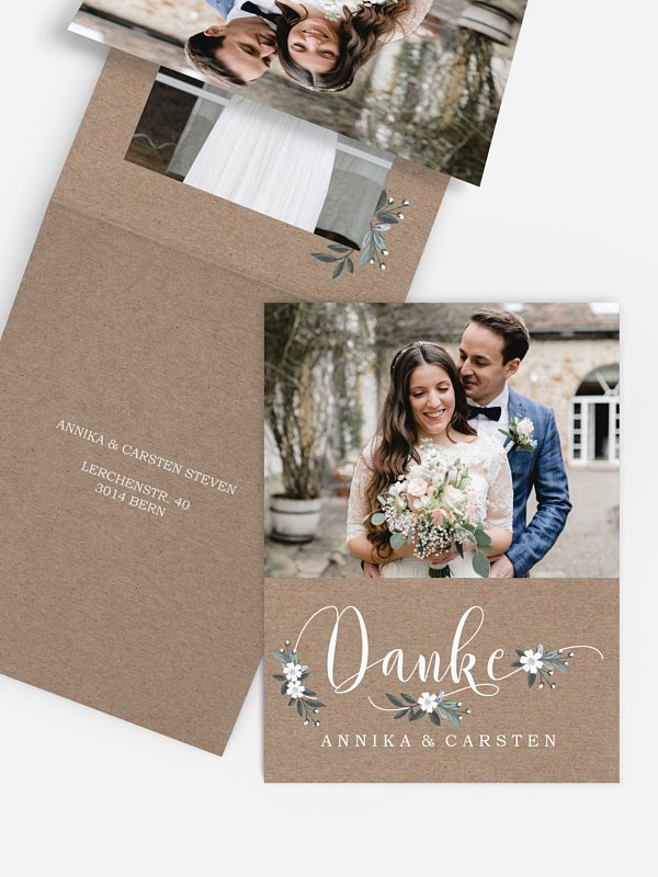 Dankeskarte Hochzeit Rustic Flowers