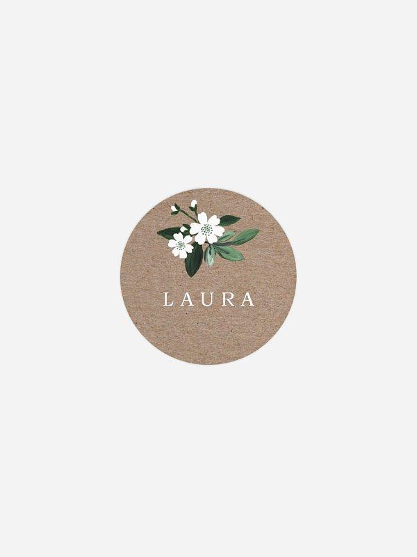 Geschenkaufkleber personalisiert Rustic Flowers