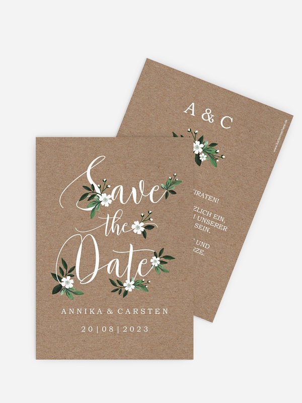 Save-the-Date Karte Rustic Flowers