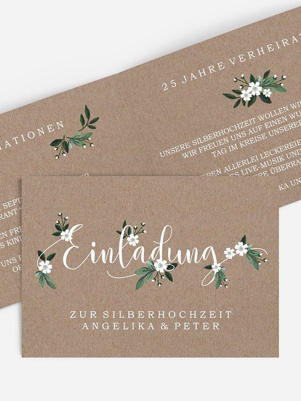 Einladung zur Silberhochzeit Rustic Flowers