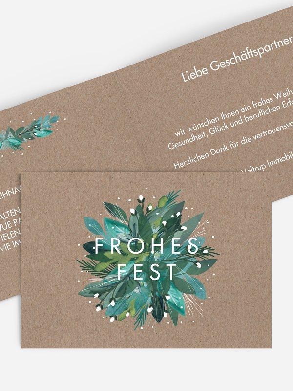 Geschäftliche Weihnachtskarte Winter-Bouquet