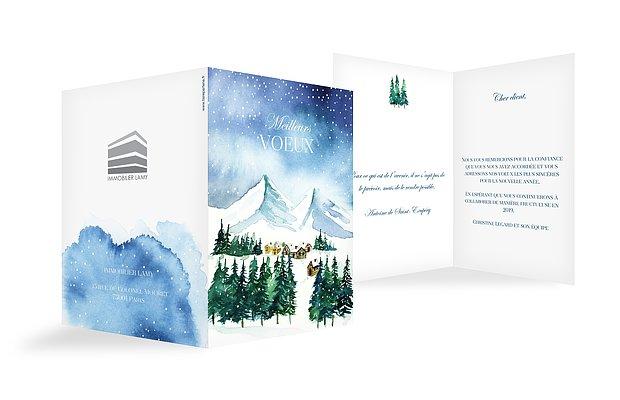 Carte de voeux entreprise Village d'hiver