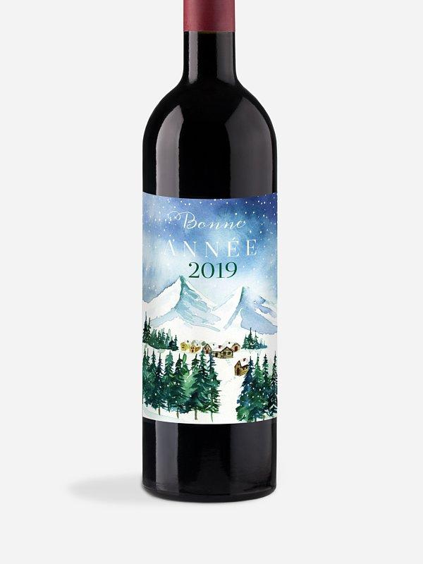 Étiquette pour bouteille Village d'hiver