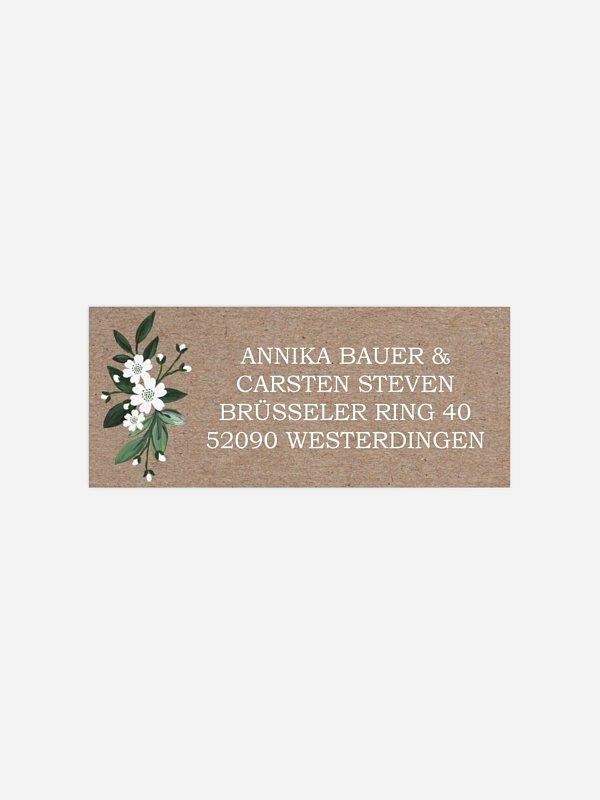 Absenderaufkleber Hochzeit Rustic Flowers Premium
