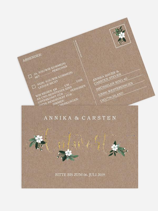 Antwortkarte Hochzeit Rustic Flowers Premium