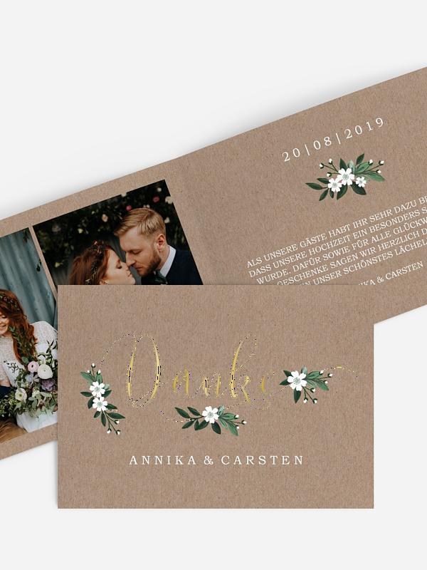 Dankeskarte Hochzeit Rustic Flowers Premium