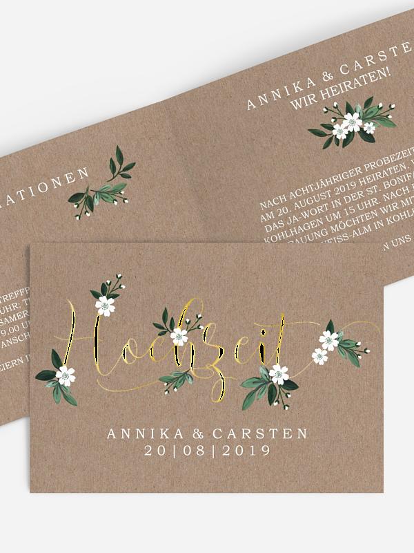 Hochzeitseinladung Rustic Flowers Premium