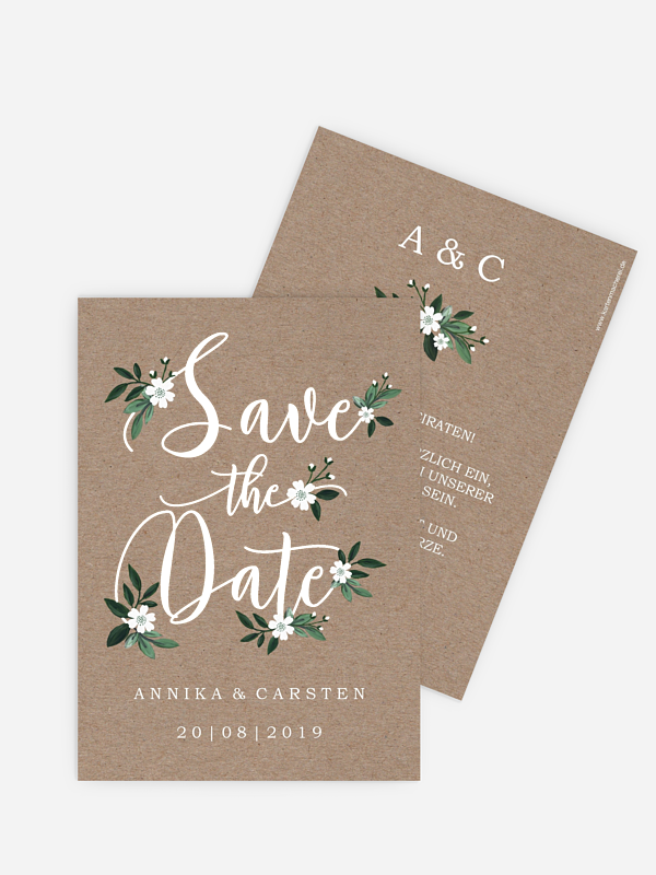 Save-the-Date Karte Rustic Flowers Premium