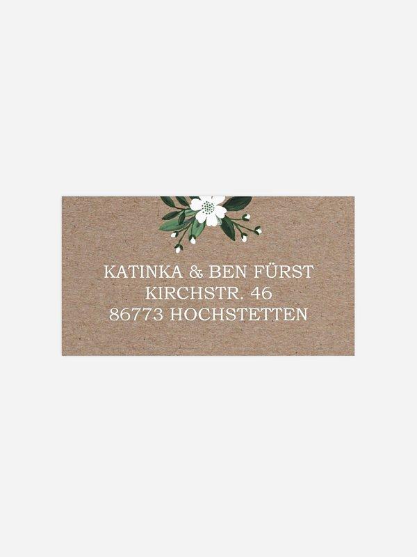 Empfängeraufkleber Hochzeit Rustic Flowers Premium