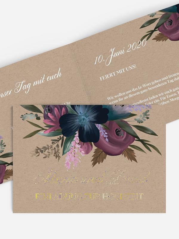 Hochzeitseinladung Blüten Bouquet