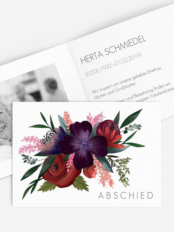 Trauerkarte Blüten Bouquet