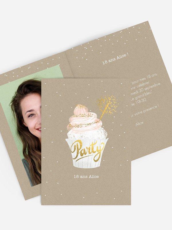 invitation anniversaire 18 Cupcake