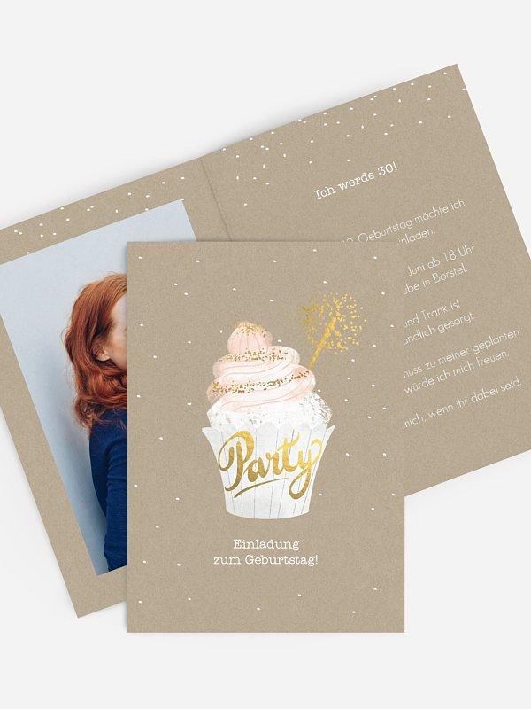 Einladung 30. Geburtstag Cupcake
