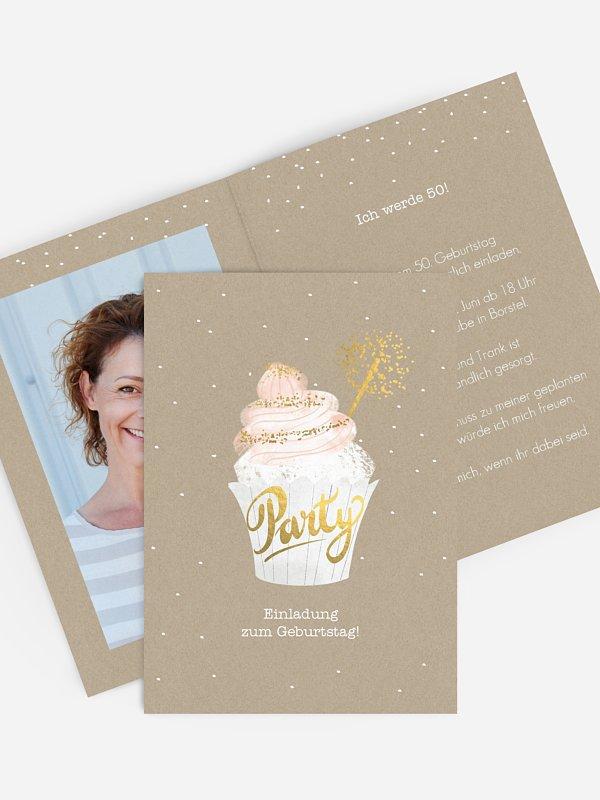 Einladung 50. Geburtstag Cupcake