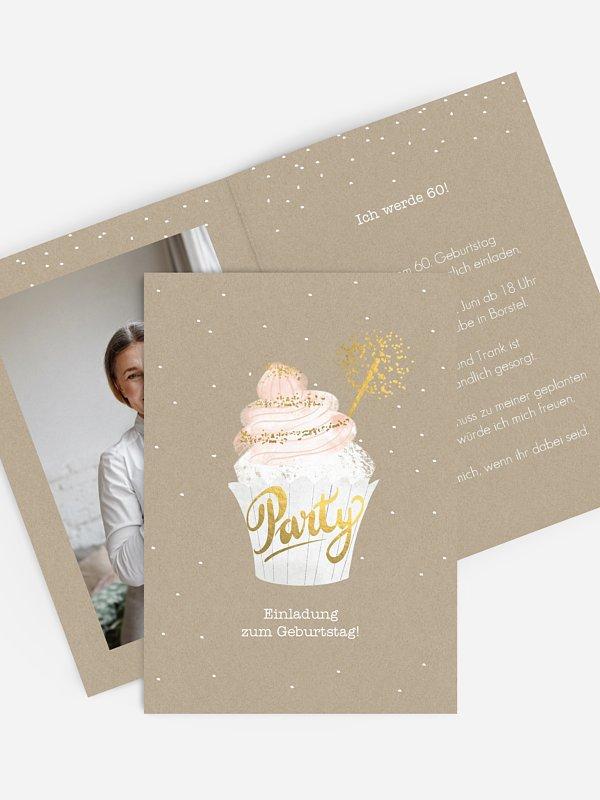 Einladung 60. Geburtstag Cupcake