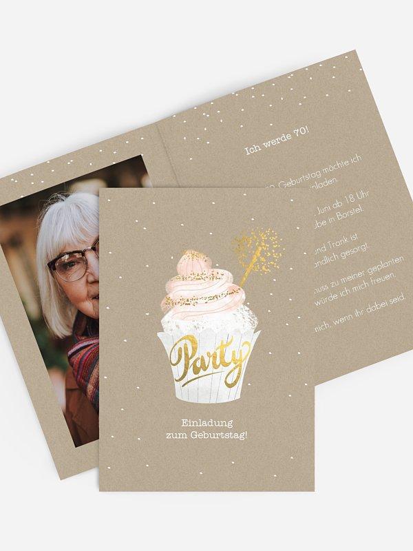 Einladung 70. Geburtstag Cupcake