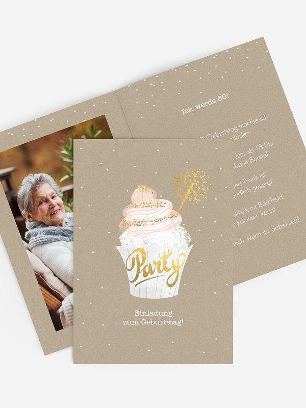 Einladung 80. Geburtstag Cupcake