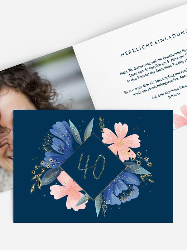 Einladung 40. Geburtstag Noble Flowers Premium