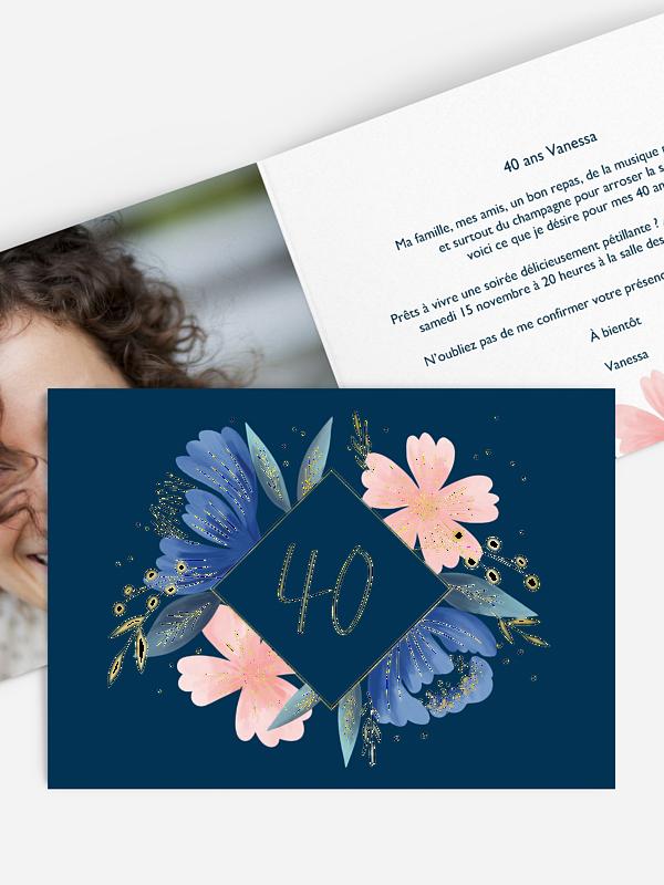 invitation anniversaire 40 Noble Flowers - dorure