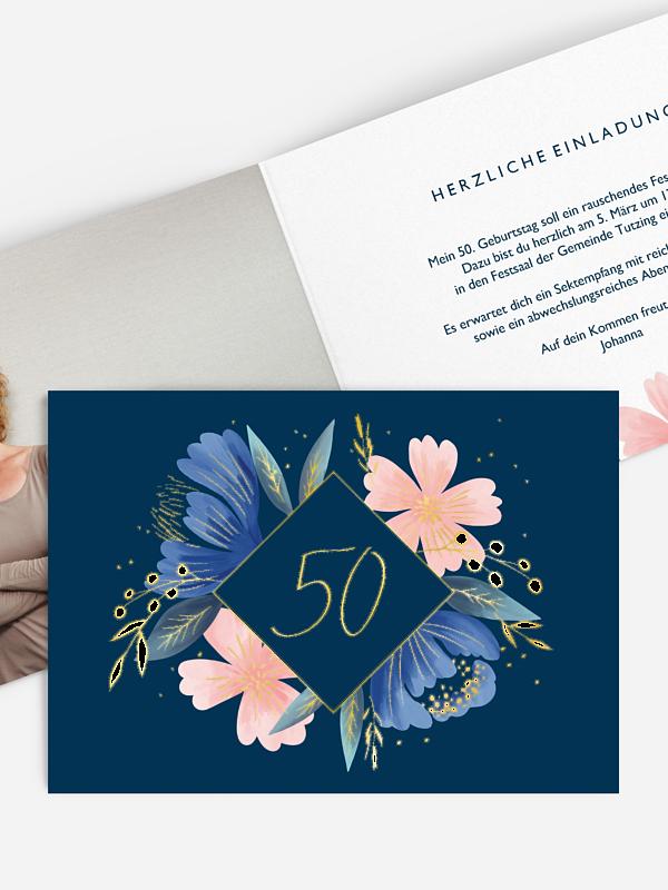 Einladung 50. Geburtstag Noble Flowers Premium