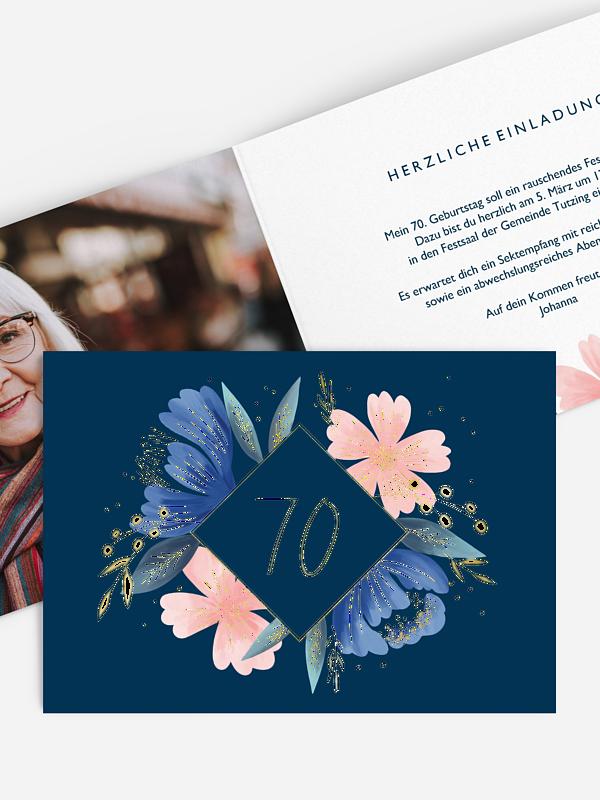 Einladung 70. Geburtstag Noble Flowers Premium