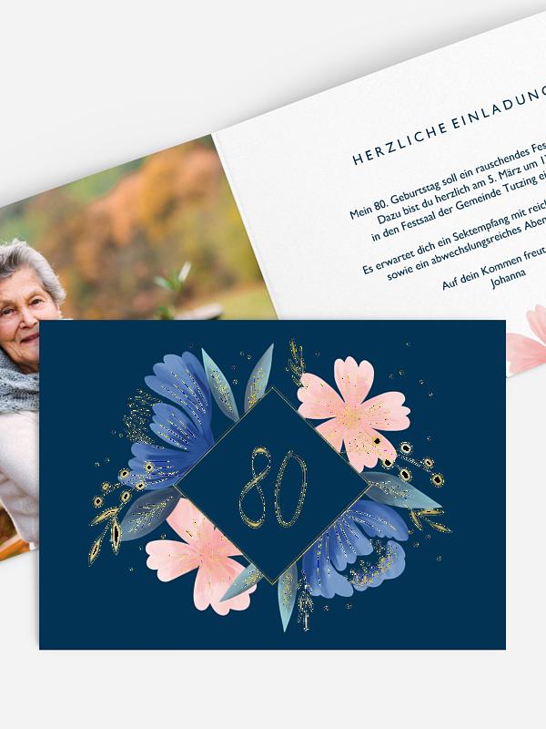 Einladung 80. Geburtstag Noble Flowers Premium