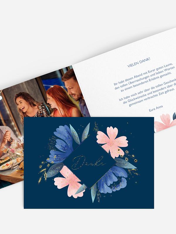 Dankeskarte Geburtstag Noble Flowers Premium